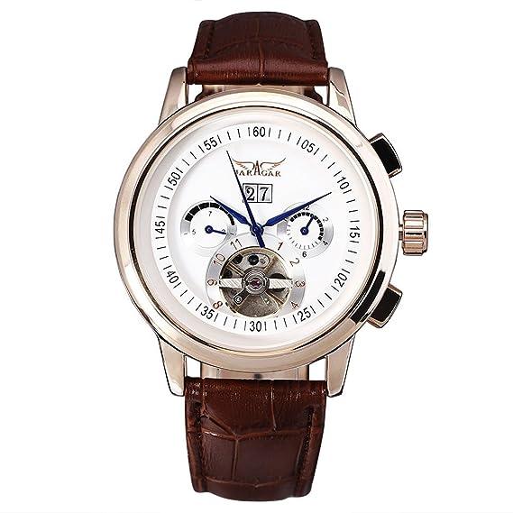 JARAGAR Reloj para hombre Tourbillon automático de lujo de nuevo Fashion piel banda cuchillo de negocios