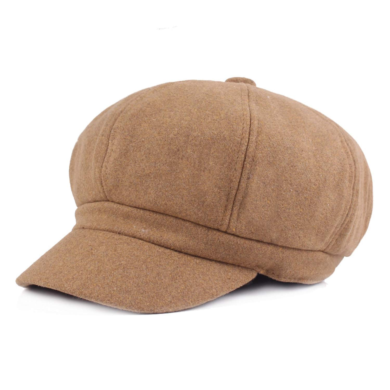 Women Beret Newsboy Cap Winter Spring Black Solid Octagonal Cap Vintage Casual Brand Eight Panel Baker Boy Hat