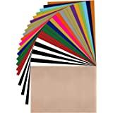 JANDJPACKAGING Vinilo de transferencia de calor HTV paquete de 25 x 30 cm, vinilo HTV de colores surtidos, vinilo para planch