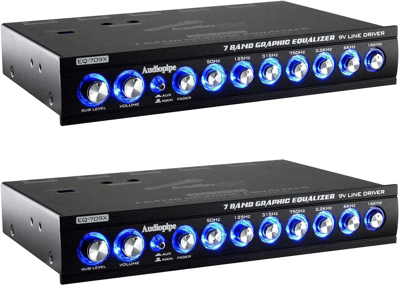 Audiopipe EQ-709X 7 Band 9.V Half DIN Graphic Car Audio Equalizer EQ (2 Pack)