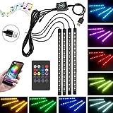 Carantee 車雰囲気ライト led テープライト APPコントロール&リモコン二合一 60LED 4×15LED RGB 音楽連動 車内装飾用 フールカラー切替 多種フラッシュモード 足下照明 防水 USB式 IOS&Android対応