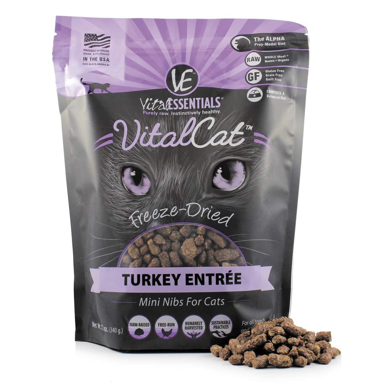 Vital Essentials Vital Cat Freeze-Dried Turkey Mini Nibs Grain Free Limited Ingredient Cat Entrée, 12 Ounce Bag by Vital Essentials