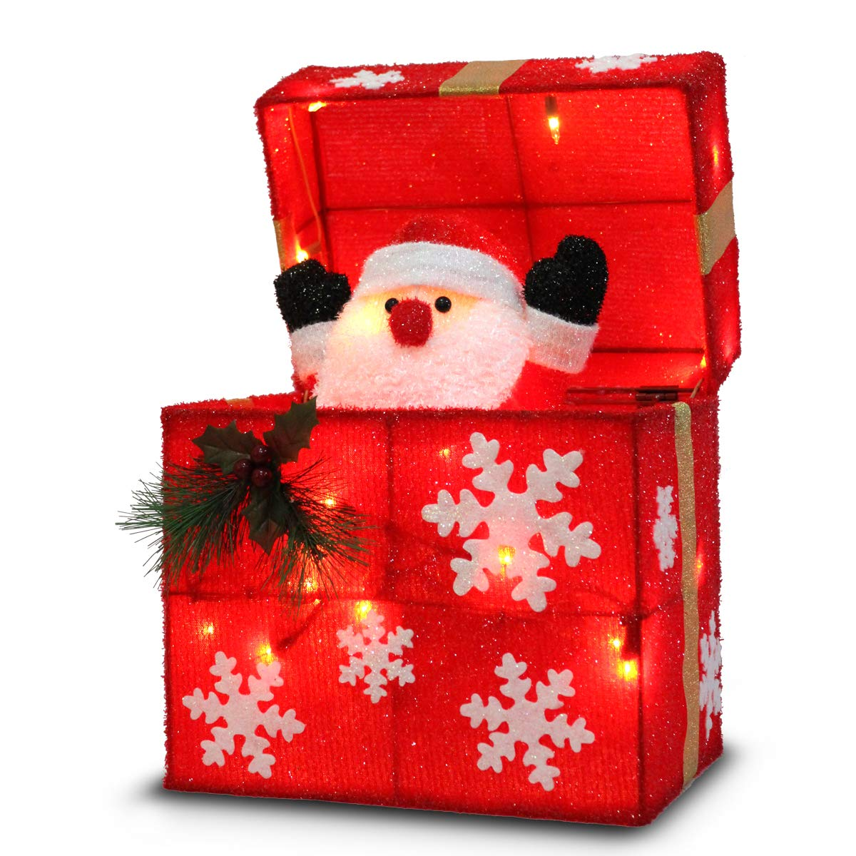 Later M 12'' Outdoor Gift Box Ornament+ Automatically Open Cover, Santa Lifting Movement, Built-in 18 LED Lights, Ip44 Water-Resistant, UL&CE Certificate, Perfect Decoration in the Garden by Holiday