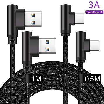 Cable Usb Tipo C 90 Grados Corto 0.5m+1m Carga Rapida,Cargador Para Samsung A50 A40 A70 A20E A5 A3 2017 A8 2018 A80,Huawei P20 P30 Lite Pro,Mate 20 ...