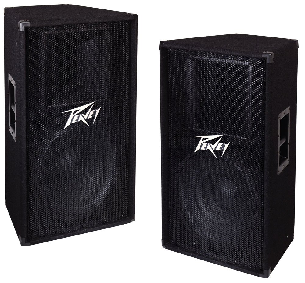 (2) Peavey PV 115 Single 15'' 2-Way Passive 800W Speaker Pair PV115 DJ Speakers by Peavey