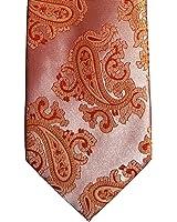 Mens Coral Orange Jacquard Woven Paisley Tie Necktie and Handkerchief Set
