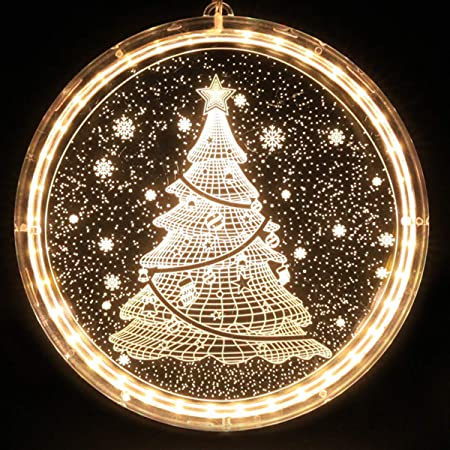Fyyzy Christmas Decorative Novelty Hanging 3d Lights With Suction Cup For Indoor Windows Pathway Patio Bedroom Warm White Christmas Tree