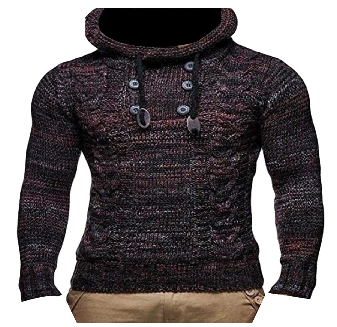 Coolred-Men Mock Neck Fashion Knit Jumper Cable Knit Blouse Polo Sweater