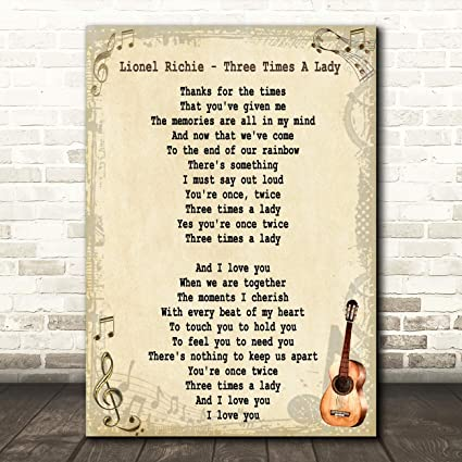 Three Times A Lady Song Lyric Vintage Quote Music Gift Wall Art