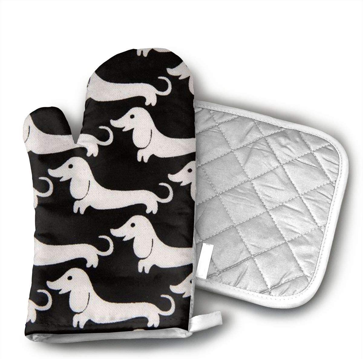 White Wiener Dog Fabric Heat Resistant Oven Mitts + Cotton Pot Holders Non Slip Oven Gloves for Kitchen Cooking Baking, BBQ, Grilling Machine Washable