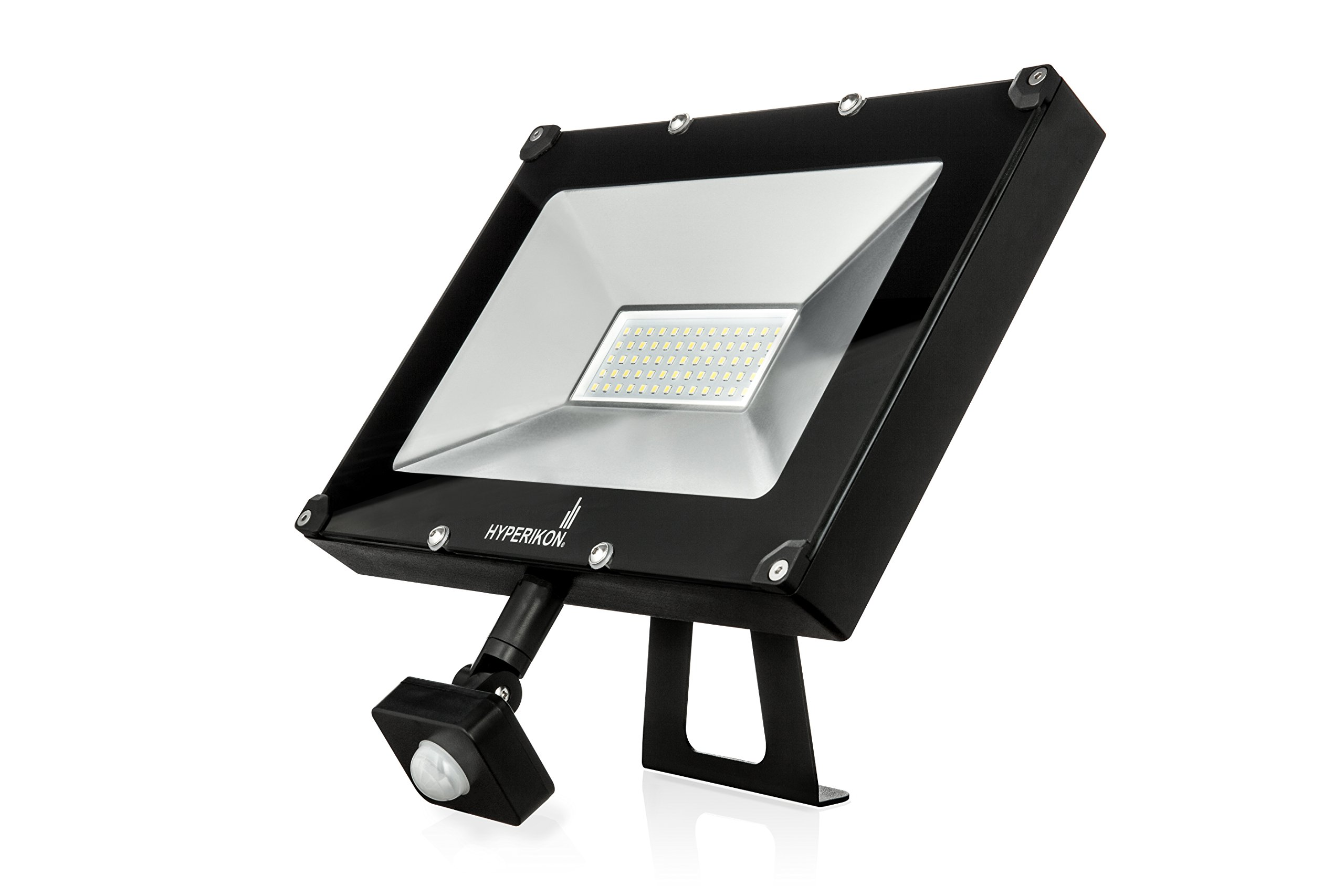 Hyperikon LED Motion Sensor Light 50W (200W Equivalent), Outdoor Flood Light, 4000 Lumens, 5000K (Crystal White Glow), LED Security Light, 120v, IP65 Waterproof - for Overhead Lighting, Security