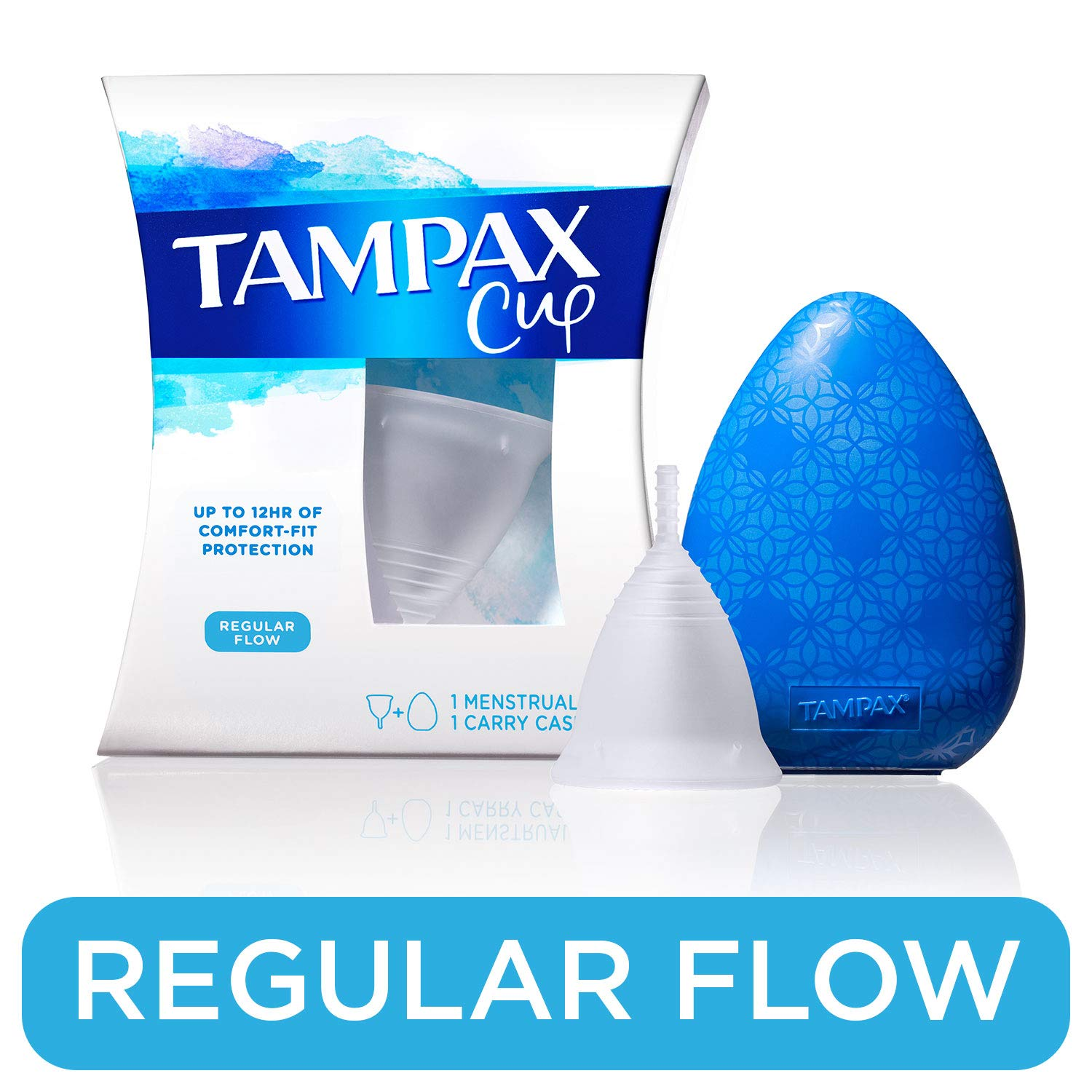 Tampax Menstrual Cup, Regular Flow, Tampon Alternative, Reusable, 12 Hours of Flexible Comfort-fit Protection with Free Always Thin Liners