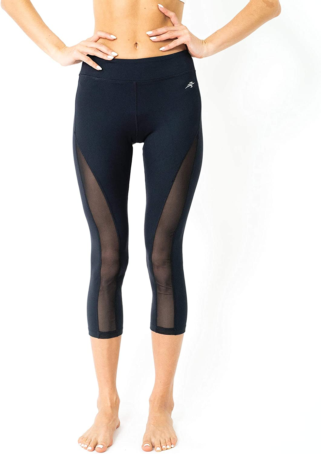 Leggings for Women - Capri Yoga Pants for Workout - High Waisted Mesh - Regular & Plus Size - by Savoy Active