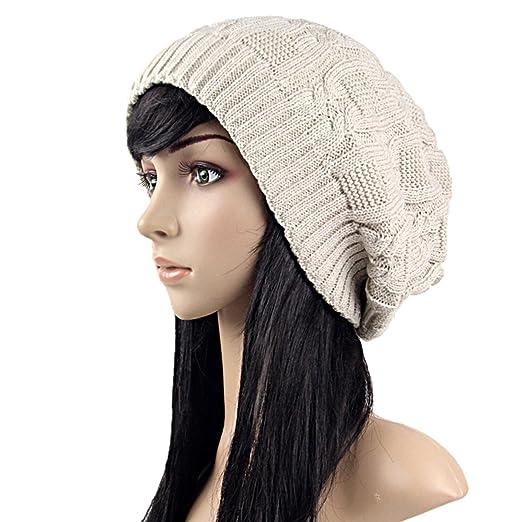 Women Knit Slouchy Beanie Skull Hats Winter Warm Newsboy Chunky Oversize  Ski Cap ebb709a7690
