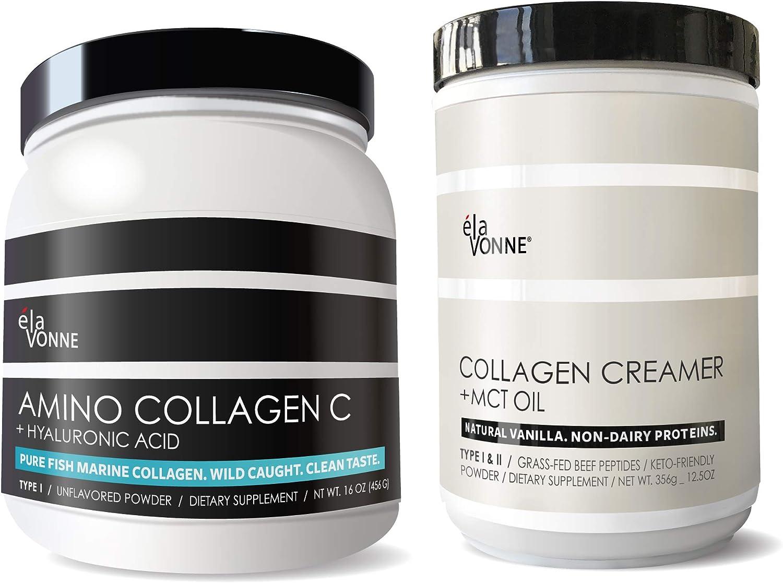 Collagen Powder for Women & Men Bundle. Non GMO Marine Peptides & Grass Fed Bovine. Type I, II, III. Non Dairy Proteins. Keto & Paleo. USA.
