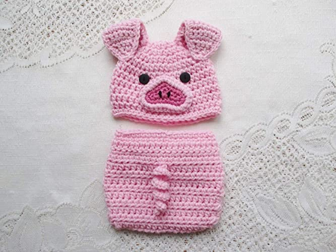 Amazoncom Crochet Baby Pig Hat And Diaper Cover Set Photo Prop