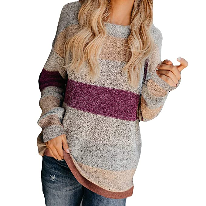 FRAUIT Herbst Winter Damen Warme Pullover Frauen Colorblock