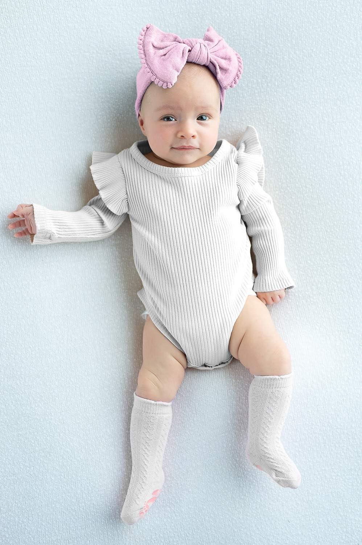 Anole Calcetines para Reci/én Nacido y Beb/é Medias Tejidas Alto de Rodilla para Ni/ñas 6 Pares Pastel, 3-6 Meses