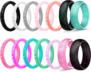 Silicone Wedding Ring Bands for Women 14 Pack 4 5 6 7 8 9 Women Thin Stackable Narrow Diamond Pattern Glitter Powder Rubber Wedding Band Rings 2.5mm /& 3mm Wide