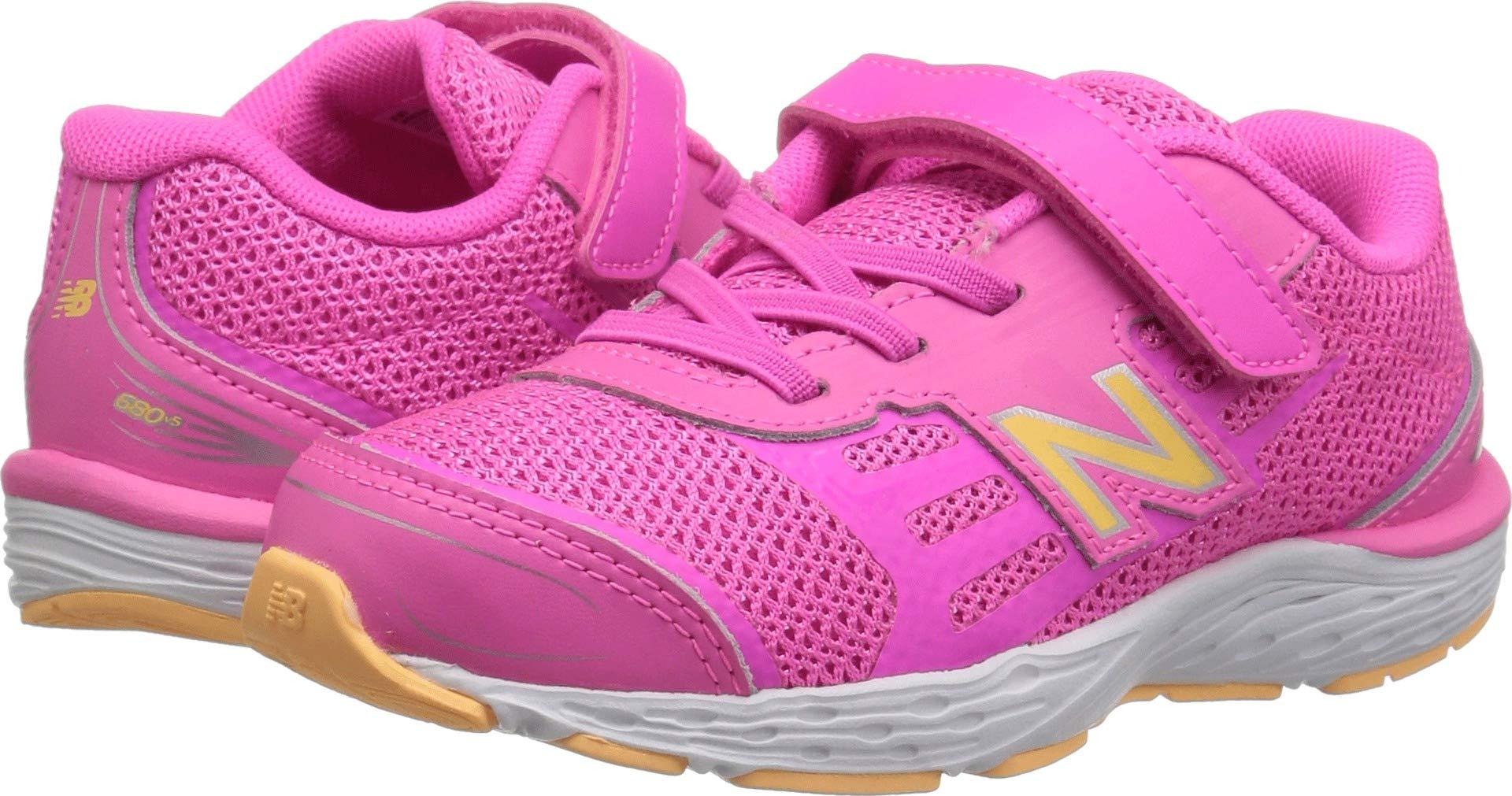 New Balance Girls' 680v5 Hook and Loop Running Shoe, Light Peony/Light Mango, 13.5 W US Little Kid