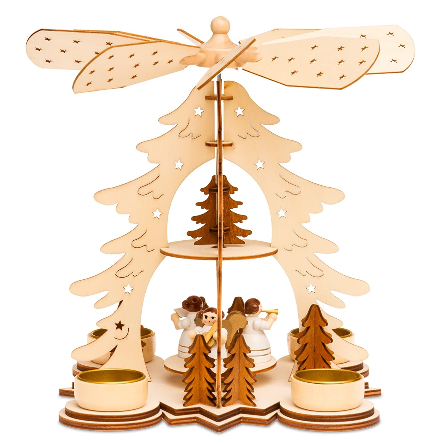 SIKORA P27 Wooden Christmas Pyramid H:26 cm / 10 inches SIKORA Weihnachtswelt