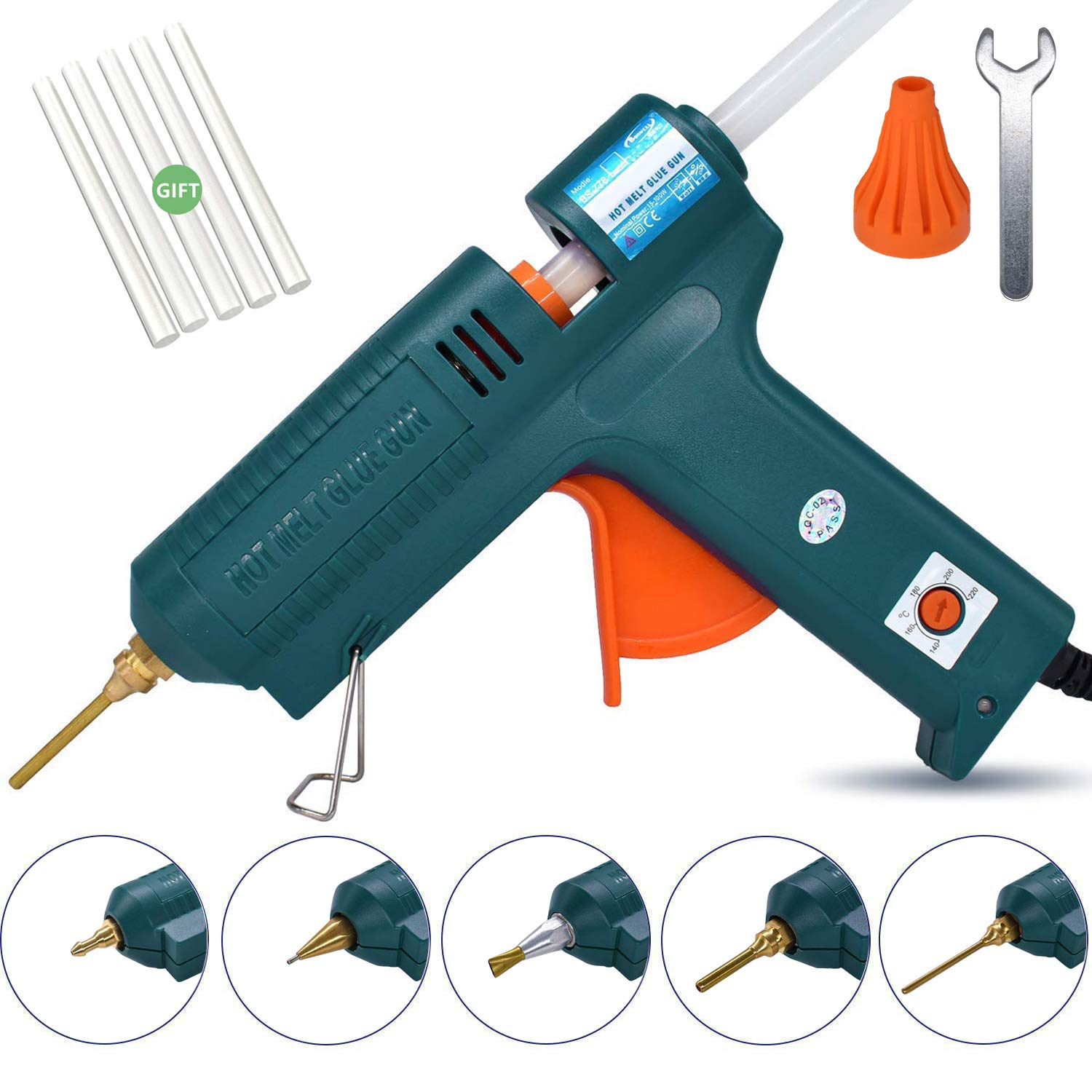 Full Size Hot Glue Gun, 150 Watts with 6 Copper Nozzles Temperature Adjustable Craft Repair Tool Professional Melting Glue Gun DIY Thermo Tool Include 5Pcs Highly Viscous Glue Sticks Luxury Set