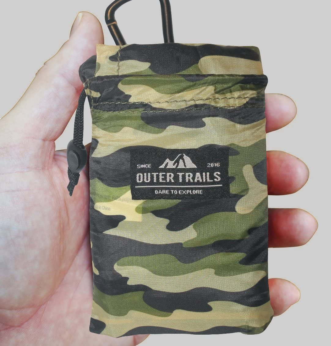 Outer Trails Pocket Picnic Blanket Mat - Water Resistant, Puncture Resistant, Compact, Ultra Lightweight, Compact & Soft - Picnics, Beach, Camping, Concerts, Festivals, Travel, Sports