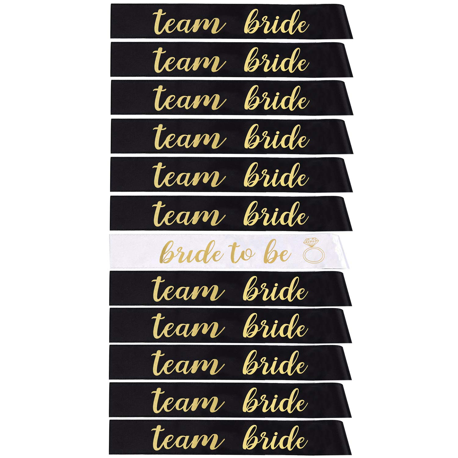 Pack of 12 Bachelorette Sashes- Includes 1 Bride to Be sash and 11 Team Bride Sashes - Hen Party Wedding Decorations Party Favors Accessories by Humphrey Amelia