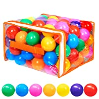 Vanland 100 Ball Pit Balls for Baby and Toddler Phthalate Free BPA Free Crush Proof Plastic - 7 Bright Colors in Reusable Play Toys for Kids with Storage Bag