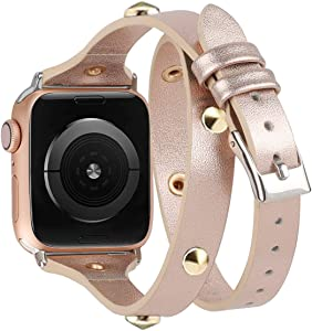 Moolia Compatible with Apple Watch Band 38mm 40mm for Women Girls,Slim Leather Double Wrap Around Srap Bracelet Replacement Wristband for iWatch Series SE 5 4 3 2 1 Sport Edition,Rose Gold