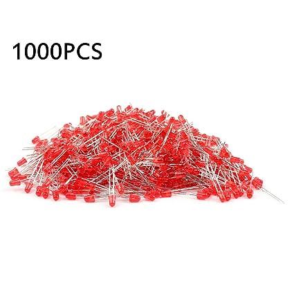 Tellaboull for 1000 Piezas Componente Redondo de 3mm LED Diodos Emisores de Luz Componente Rojo/