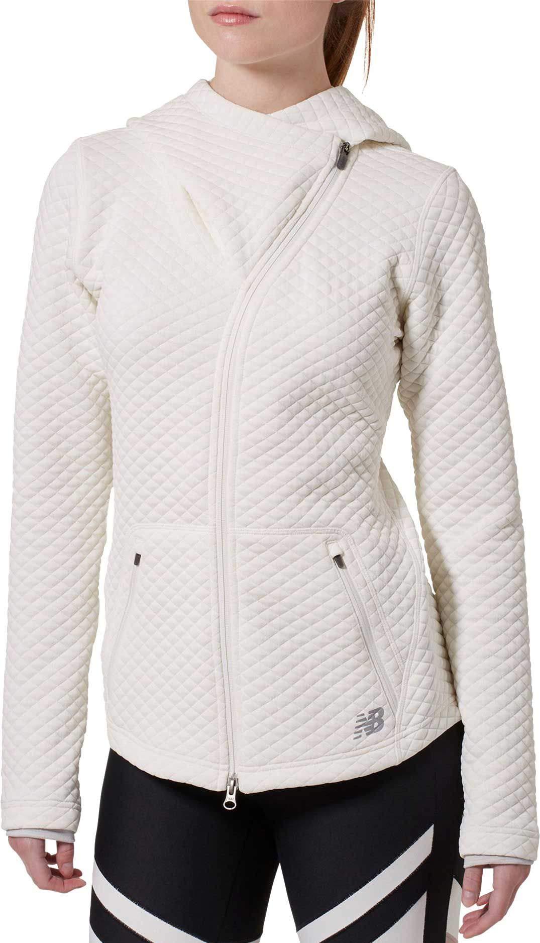 New Balance Women's Heat Loft Asymmetrical Full-Zip Jacket (XS, Ivory)