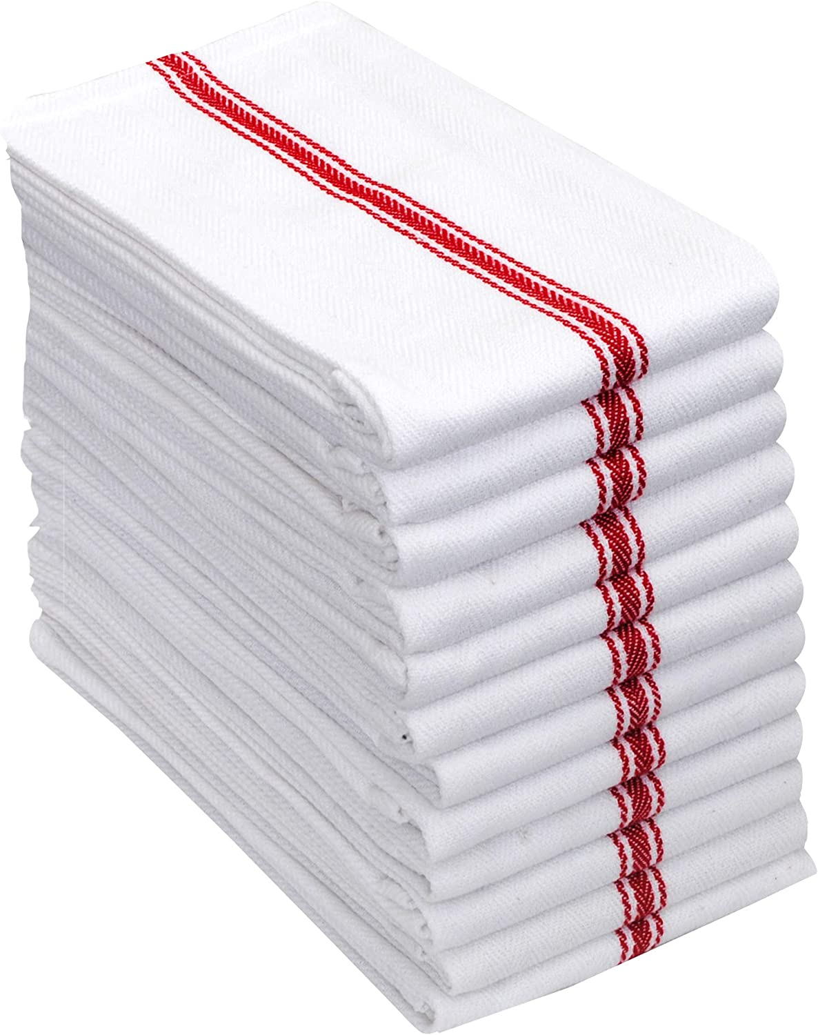AMOUR INFINI Herringbone Weave Kitchen Towels | Set of 12 | 28 x 16 Inches | 100% Ring Spun Cotton Dish Towels | Ultra Soft and Absorbent | Perfect for Commercial Use and Bar Towels | Red