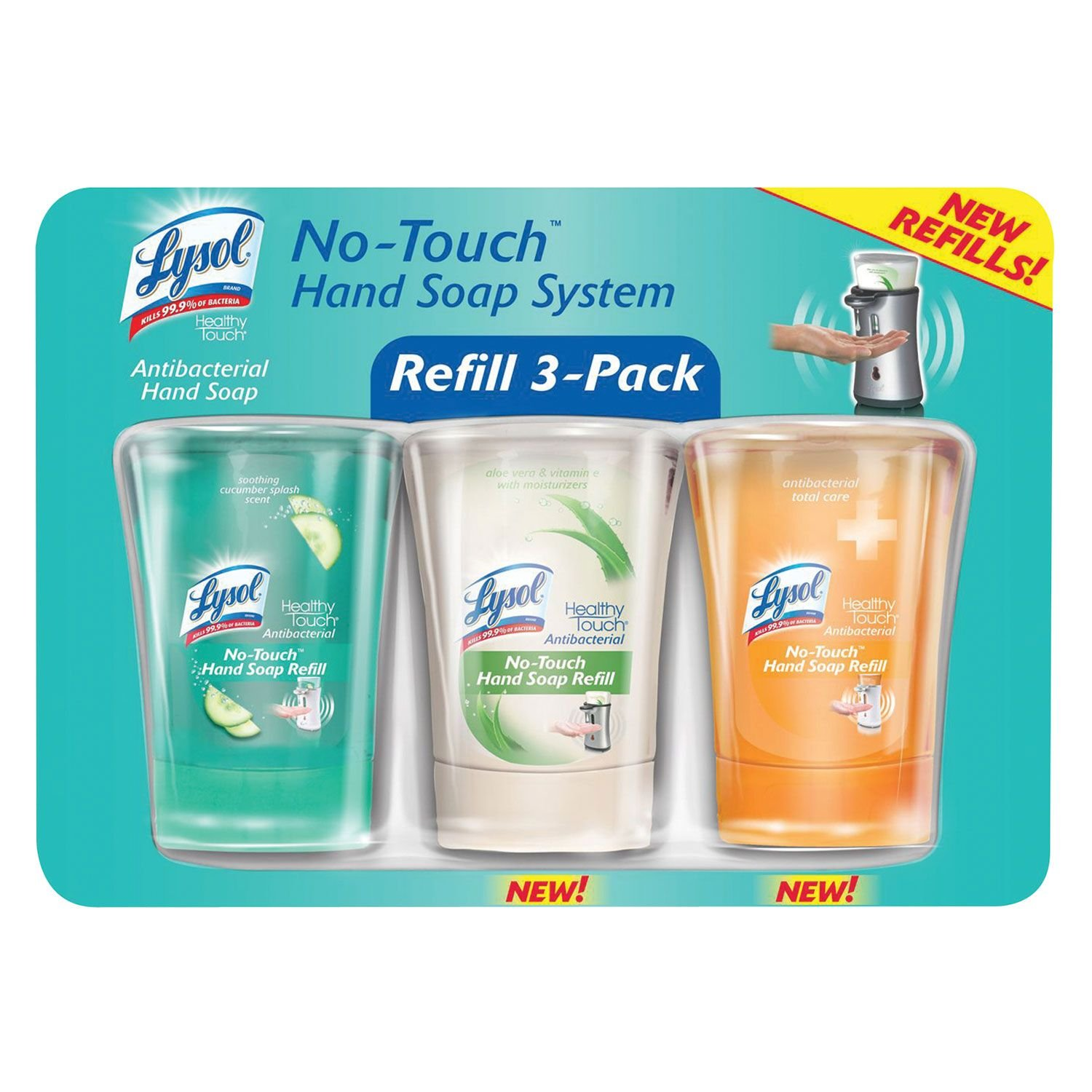 Amazon.com: ALL NEW Lysol No Touch Hand Soap System Refill 3-Pack ...