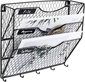 Wall File Holder Superbpag Hanging Mail Sorter Organizer 3-Tier Metal Chicken Wire Wall Mount Magazine Literature Rack with Key Holder, Black