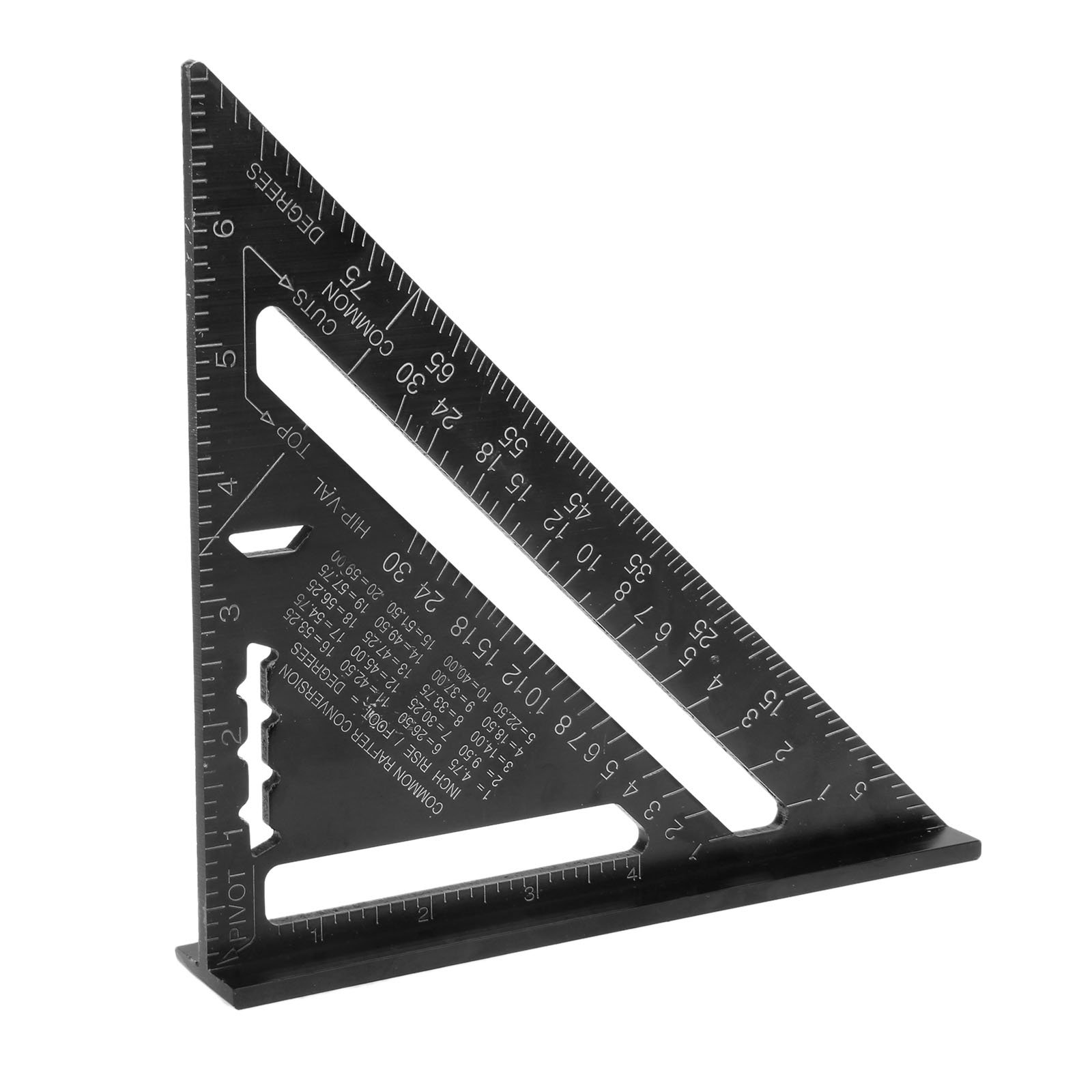 7 Inch Aluminum Alloy Black Triangle Woodworking Ruler Angle Protractor Gauge by Hicello