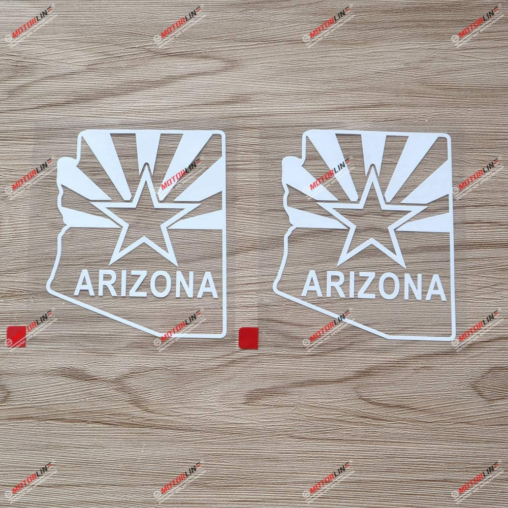 2X White 4 Inches Arizona Flag Map Outline Decal Vinyl Sticker Car Laptop Window American State Style b