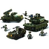 Sluban - M38-B6800 - Jeu de Construction - Army set - Char + Lance Roquettes + Jeep