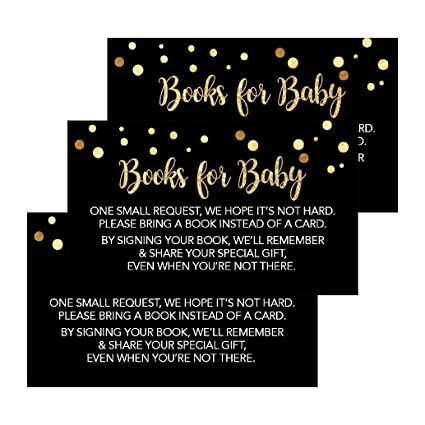 25 Black Books For Baby Request Insert Card Boy Or Girl Gold Shower Invitations Invites Cute Bring A Book Instead Of Theme