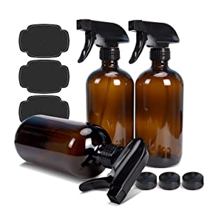 Empty Amber Glass Spray Bottle 16oz ULG 3 Pack Boston Round Heavy Duty Brown Bottles Trigger Sprayer Mist and Stream Settings for Essential Oils, Cleaning Solutions