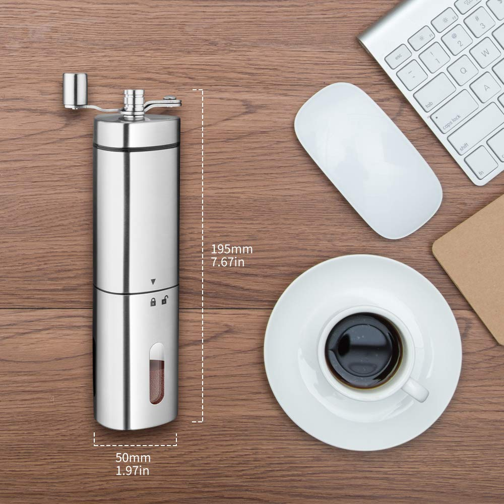 Transparent Stainless Steel Hand Crank Coffee Grinder & Coffee ...