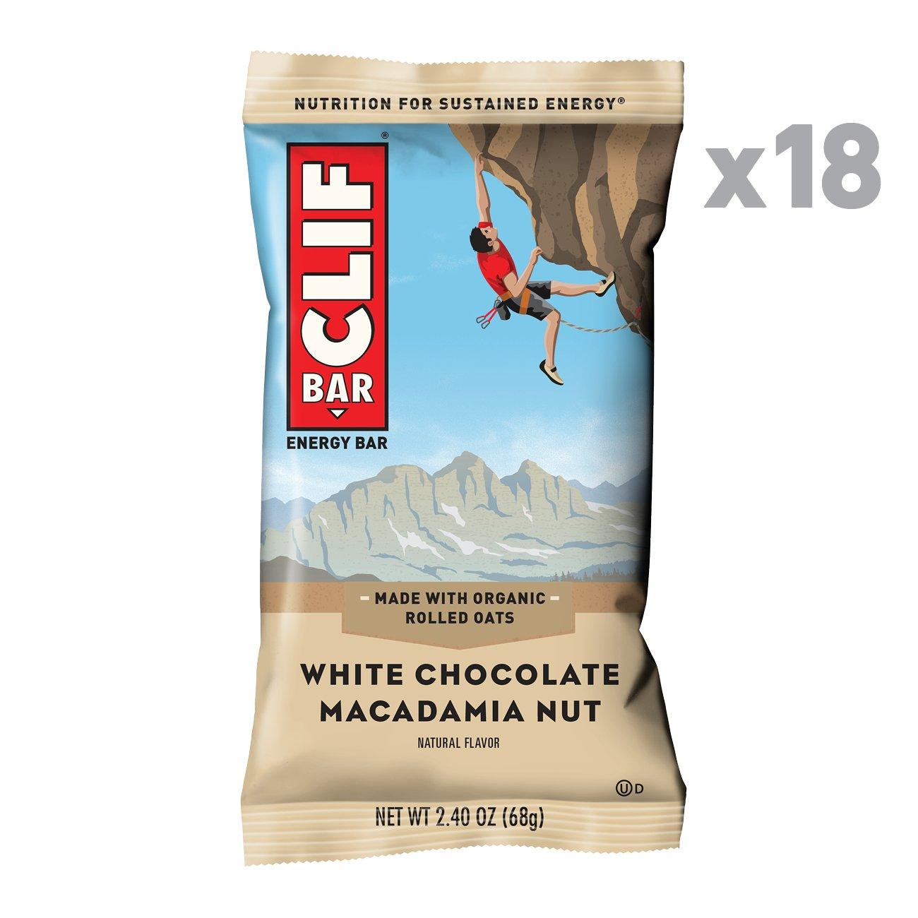 CLIF BAR - Energy Bar - White Chocolate Macadamia Flavor - (2.4 Ounce Protein Bar, 18 Count) by Clif Bar