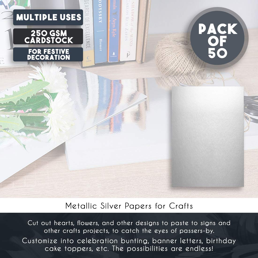 Shimmer Paper for Crafts Baby Shower A4 Size 250gsm Cardstock 11.75 x 8.5 Inches 50-Pack Metallic Silver Cardstock Wedding Juvale Metallic Silver Papers