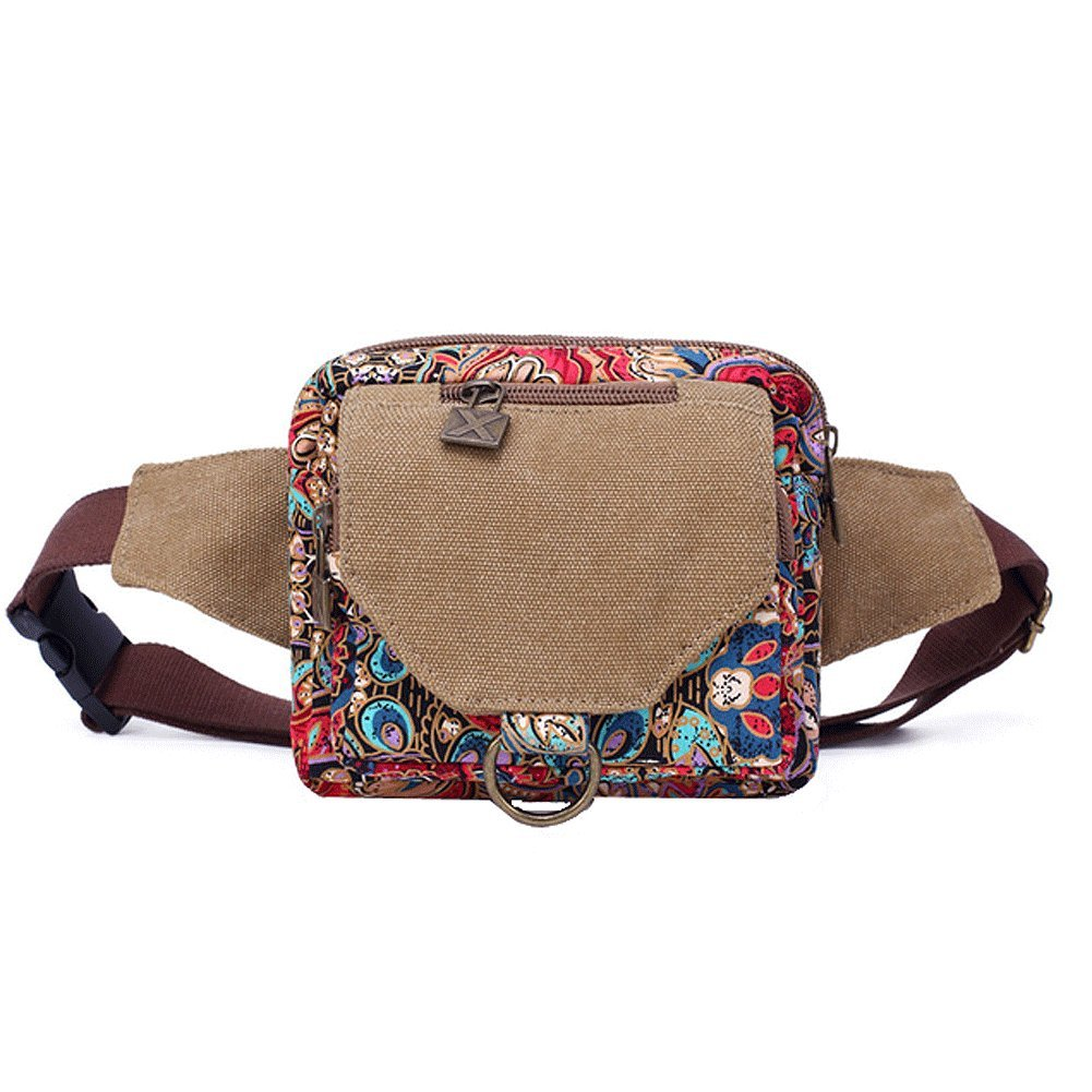 Paonies Lady Women Waist Pack Bum Bag Canvas Printed Bags Belt Bags Travel Money Holiday Sports