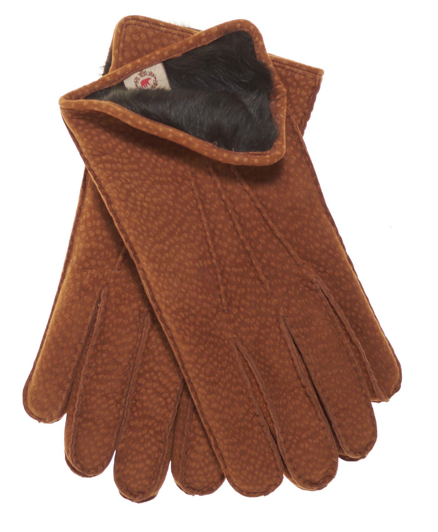 Fratelli Orsini Men's Handsewn Rabbit Fur Lined Italian Carpincho Dress Gloves Size 9 Color Cork