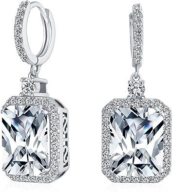 18K White Gold Square Drop Bling Silver Cubic Zirconia Hook Earrings Jewellery
