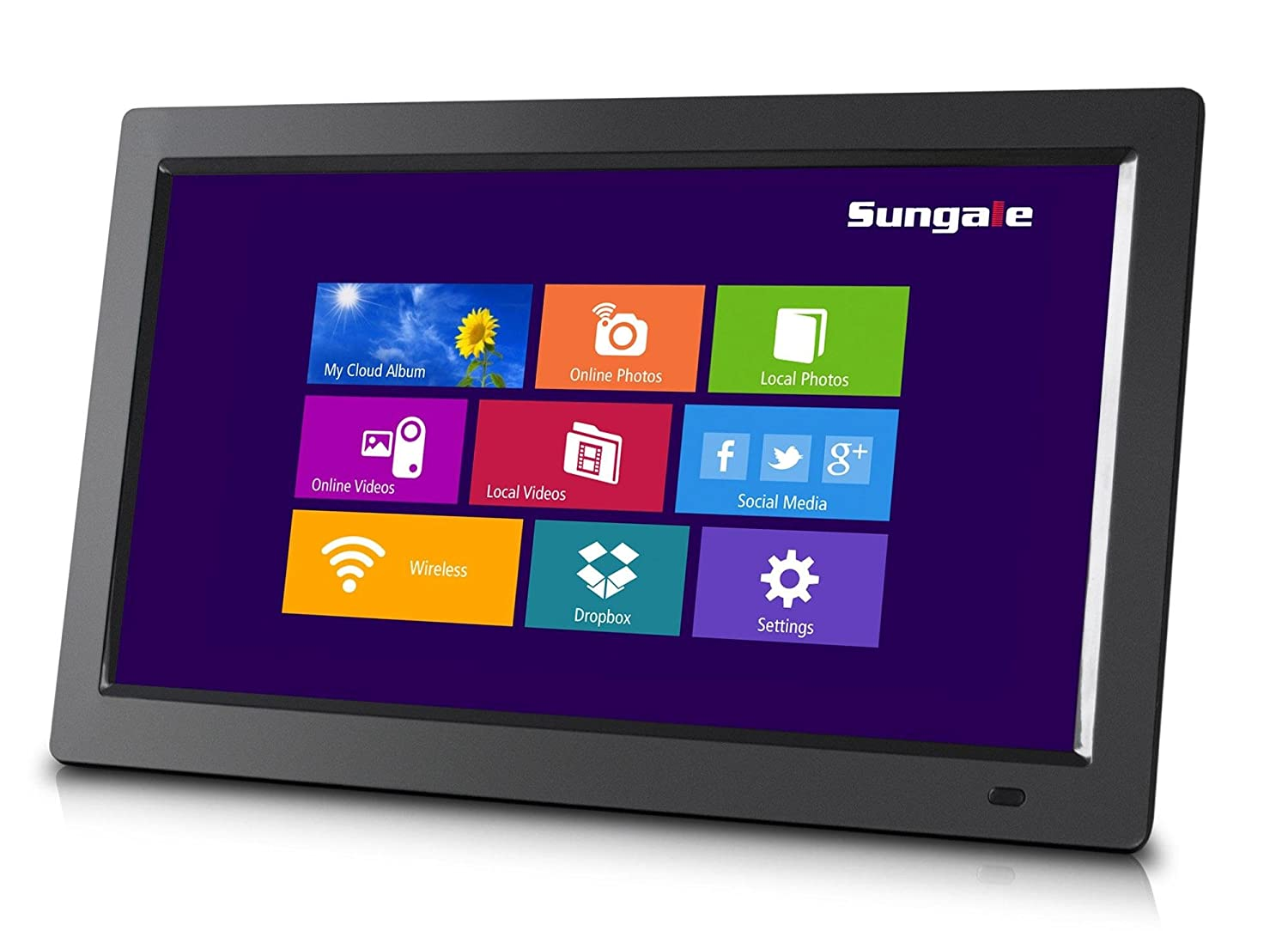 Sungale CPF1510+ 14' Cloud Digital Photo Frame, all wi-fi dpf's features, free cloud storage, real-time photos, movie, social media, browser, all apps all wi-fi dpf' s features