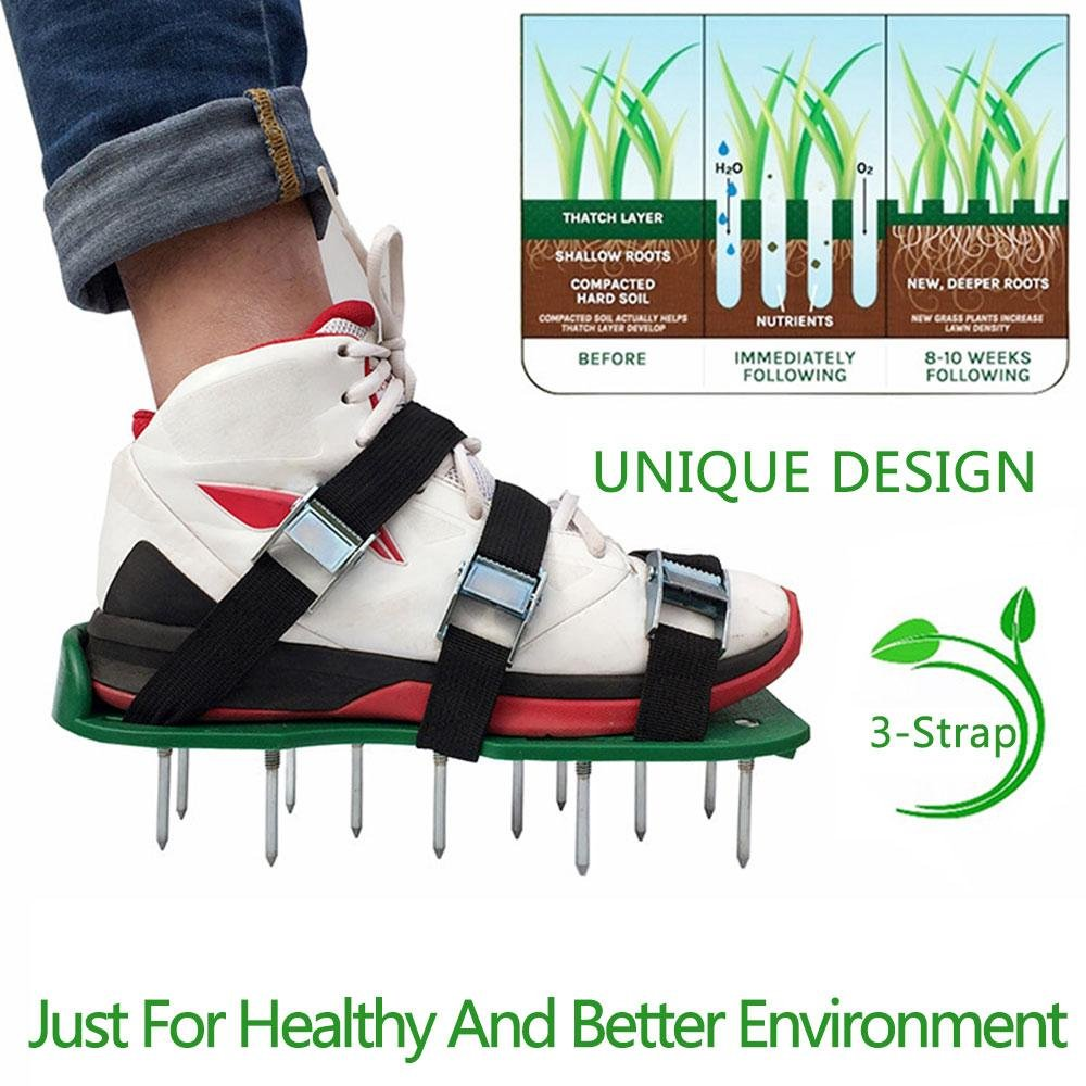 Leegoal Lawn Aerator Shoes, Lawn Aerator Spike Sandal Shoes with 3 Adjustable Straps 2 Extra Spikes, Zinc Alloy Buckles for Aerating Your Lawn, Yard, Garden
