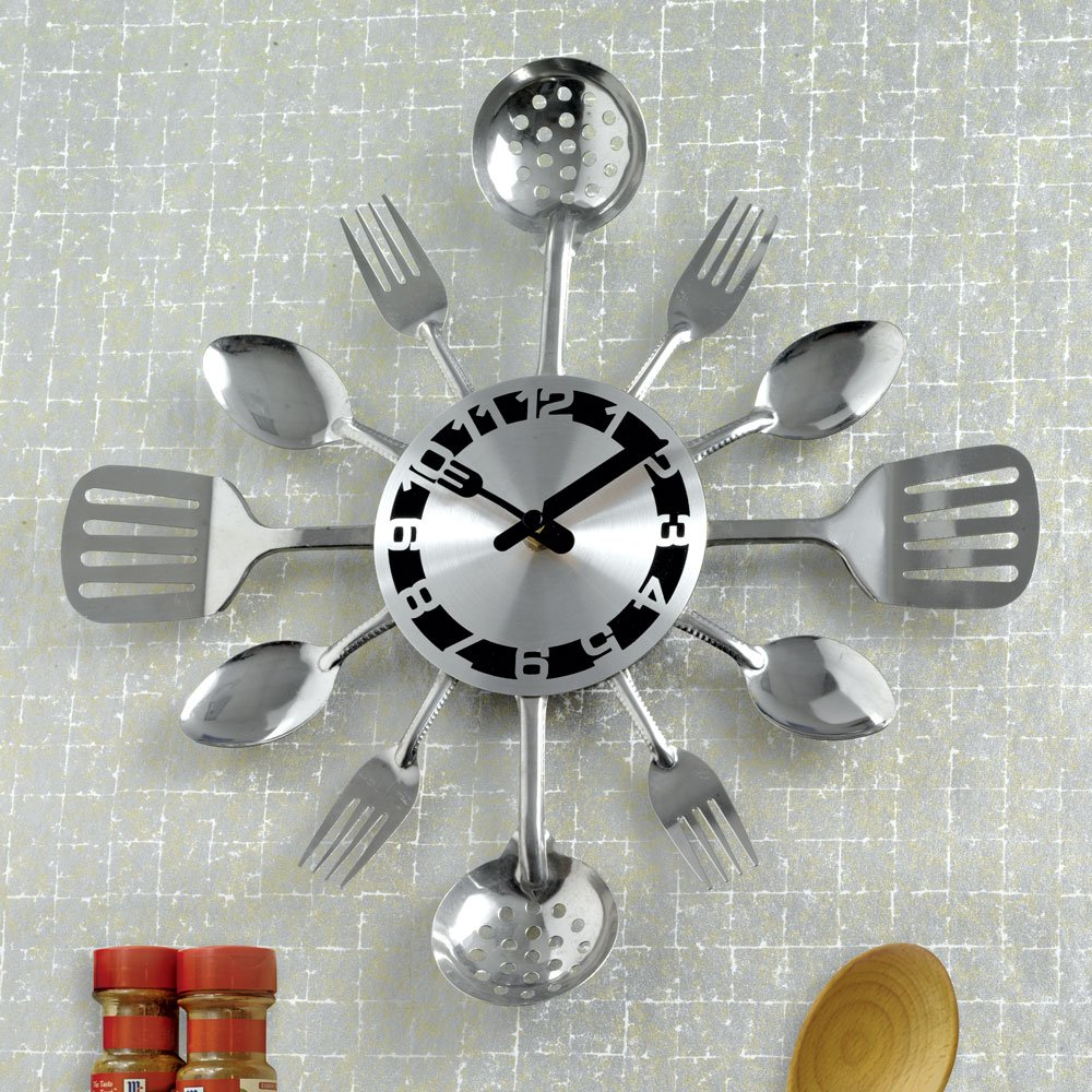Shop amazon wall clocks bits and pieces contemporary kitchen utensil clock silver toned forks spoons amipublicfo Image collections