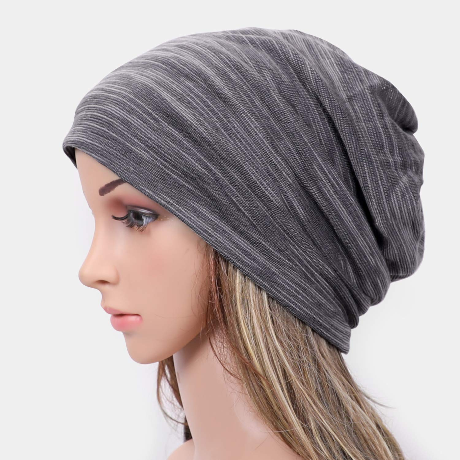 EtsyEase Soft Cotton Beanie Hat Sleep Cap - Fashion Slouchy Knit Beanie Cap for Men and Women (Grey)